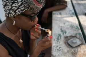 cannaclusive black woman smoking cannabis