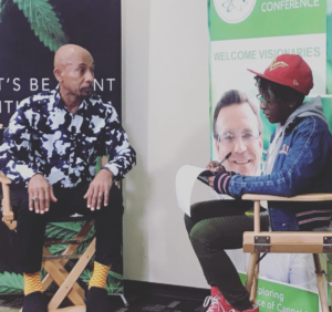 Montel Williams being interviews by cannabis writer, Alaina Dorsey