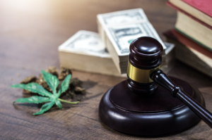 Image of gavel next to cannabis leaf and small pile of money