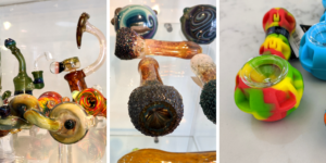 Assorted cannabis pipes and bongs