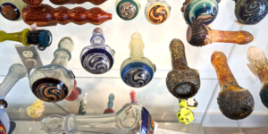 Display of glass pipes and bongs