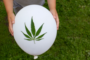 cannabis leaf on balloon